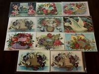 ~Lot of 11 ~Fancy Doves~Birds~Roses~Flowers~Vintage Greeting Postcards-a81