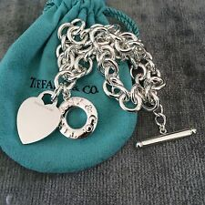 Tiffany & Co Silver Toggle Heart Tag Necklace Donut Lifesaver