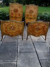 PAIR SIGNED ITALIAN VENETIAN PAINTED French, Multi-Color FLORAL TWIN/DAY BEDS