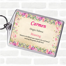 Carmen Name Meaning Bag Tag Keychain Keyring  Floral