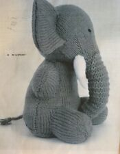 "DK Knitting Pattern Toy Animal Elephant  9.5"" In height"
