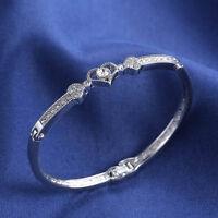 Women's Ladies Girls Crystal Rhinestone Heart Bangle Silver Plated Bracelet