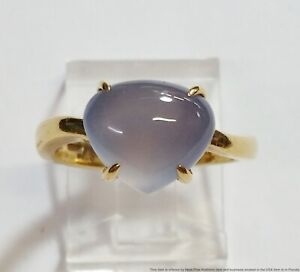Vintage 18k Yellow Gold BVLGARI Blue Chalcedony Fashion Ring Size 6 Box Booklet
