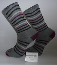 Grey Socks with Maroon Heel and Toes With Maroon, Black and White Stripes