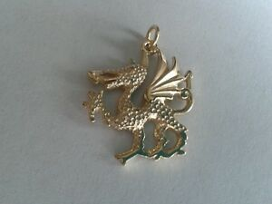 9ct Gold Solid Large Welsh Dragon Pendant. Hallmarked.