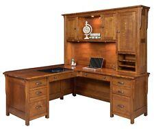Amish Arts & Crafts Mission Executive Corner L Computer Desk Hutch Solid Wood