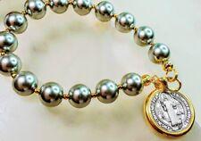 Beautiful Tahitian Gray Pearl Double Sided Benedict Charm Catholic Bracelet