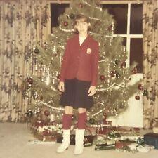 Vintage Color Photo Teen Girl School Uniform Standing Christmas Tree Living Room