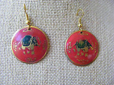 ETHNIC EXOTIC MADE IN INDIA 1 INCH RED & GOLD DOMED ELEPHANT DESIGN EARRINGS