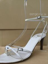 SERGIO ROSSI WHITE LEATHER HIGH HEEL STRAPPY SANDALS - SIZE 37 1/2