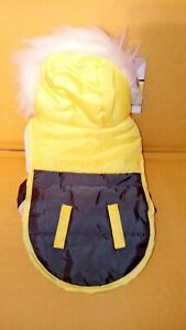 Fletchwear XX Small Yellow Dog Coat With Furry White Hood with hook and loops