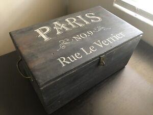 Antique PARIS No. 9 RUE LA VERRIER French Cottage Style Wooden Chest Storage Box