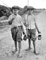 ANTIQUE FISHING LURE REPRO 8X10 PHOTO 2 BOYS RODS WORM CANS > GOOD TO GO !