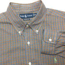 RALPH LAUREN Men XL Classic Blue Orange Plaid Soft Long Sleeve Button-Down Shirt