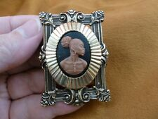 CA10-40) RARE African American LADY black brown CAMEO brass Pin Pendant JEWELRY