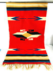 Vintage Western Native American table runner tapestry rug red black white