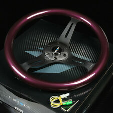 "NRG 350MM 2""DEEP DISH STYLE 6-HOLES STEERING WHEEL PURPLE WOOD GRIP BLACK SPOKES"
