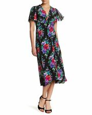 NANETTE LEPORE In Bloom Silk Floral Print Midi Dress Size 6 NWT $498