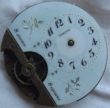 Hebdomas pocket watch movement & enamel dial balance Ok. some parts missing