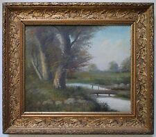 TABLEAU Peinture signé Daubroche XIXe Paysage BARBIZON HUILE / TOILE CADRE doré