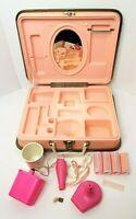 Vintage Barbie Vanity Hard Case 1973 Mattel Pink Curlers Hair dryer Works! VIDEO