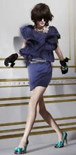 $200 Lanvin for H&M Midnight Blue Silk Shift Cocktail Dress Ruffle Sleeves 8 M