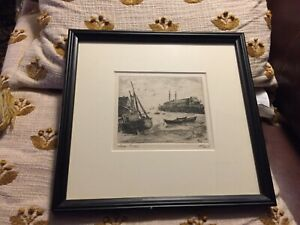 """Albert Edel Signed Etching """" Low Tide """" Provincetown Listed Artist Cape Cod Art"""