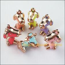 5Pcs Mixed Plastic Acrylic Lovely Animal Dog Charms Pendants 20.5x38mm