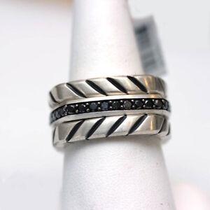 DAVID YURMAN Mens New Sterling Silver Black Diamond Chevron 3 Row Stack Ring 11