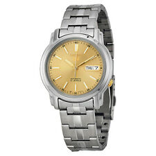 Seiko SNKL81 SNKL81K1 Mens Automatic See Through Gold Dial 21 Jewels Steel Watch