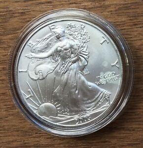 H286 US USA UNITED STATES 2003 1OZ $1 SILVER BU UNC EAGLE COIN IN CAPSULE