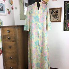 Vtg Floral Robe Pastel Housecoat Pink Yellow Blue Flowers 1970s Mrs Roper Muumuu