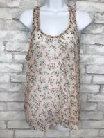 Aerie Pink Floral Semi Sheer Racer Back Tank Top Blouse Shirt Small