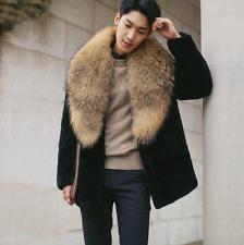 Mens Winter Business Casual Overcoat Brown Collar Black Faux Fur Coat Fashion I5