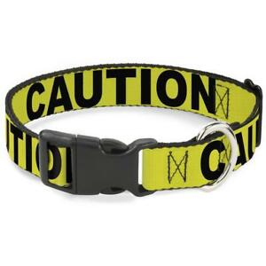 Buckle Down Dog Collar - CAUTION Yellow Black - Narrow - Wide S M L Made in USA