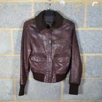 OASIS Brown Real Leather Biker Bomber Jacket (UK Size 10 Butter Soft Coat