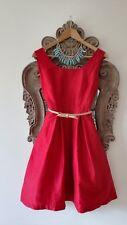 £ 170-Rouge 100% Soie Robe de Princesse allemande. Fait à la Main en Europe! Noël.