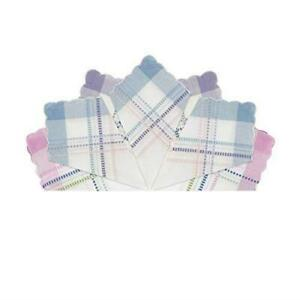 Pack Of 7 Assorted Womens Handkerchiefs Cotton Leno Scallop Edge Gift Boxed