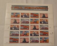 ALL ABOARD US Stamps full sheet, 20x33 cent, 1998 USPS trains,  (999)