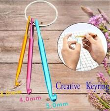 3Pcs Aluminum Crochet Hooks Knitting Needles Weave KeyChain KeyRings Tools Craft