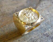 Anello sigillo piazza Cristo in oro giallo con ossido bianchi