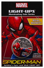 2017 Fiji Marvel Light-Ups Spider-Man Silver Plt Specimen $0.50 Coin BU SKU49766