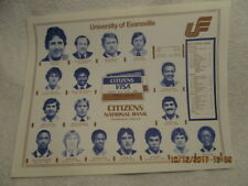 1977 Placemat University of Evansville Basketball Team Killed in Plane Crash IN