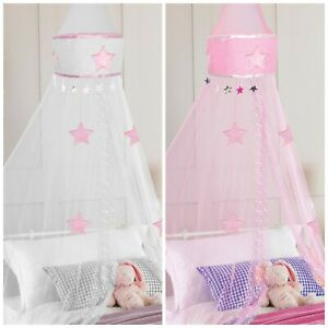 Kids Star Embroidered Round Bed Canopy Bedroom Curtain Mosquito Net Tent