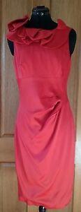 Pre-Owned KAREN MILLEN Persimmon Red Dress - Size UK 12 (AUS 10)