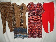 Lot 2 Set Red Brown Printed Rayon Salwar Kameez 2Pc Outfit Women Size L M
