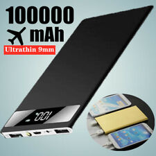 Ultra-Thin 100000mAh Power Bank Charger Battery Pack Portable 2USB LED for Phone