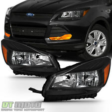 Black 2013-2016 Ford Escape Headlights Halogen Headlamps Replacement Left+Right