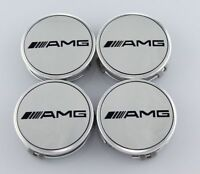 UK 4pcs Mercedes Benz Alloy Wheel Centre Caps 75mm Badges SILVER AMG Hub Emblem