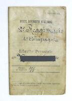 Militaria Esercito Libretto Personale 2° Regg. Genio con piastrina - 1896 Casale